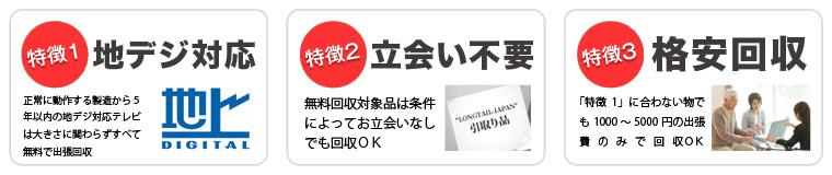 平塚市・南足柄市・小田原市で当社が液晶テレビを無料回収する3つの特徴